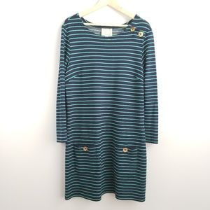 Sail To Sable Navy Blue & Teal Shift Dress Stretch